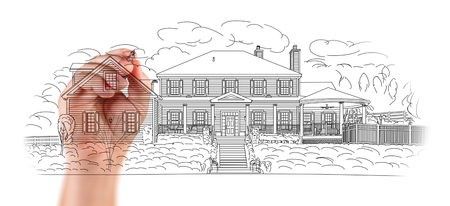 カスタム家の設計の建築家図面詳細の手。 写真素材