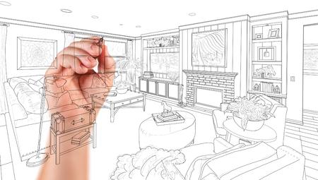 白地に手の図面のカスタムのリビング ルームのデザイン。 写真素材