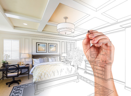 Hand Drawing Custom Master Bedroom Design With Gradation Revealing Photograph.