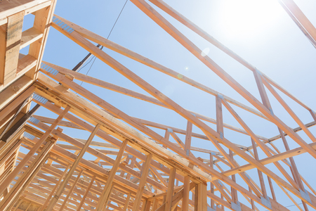Wood Home Framing Abstract At Construction Site. Stock fotó