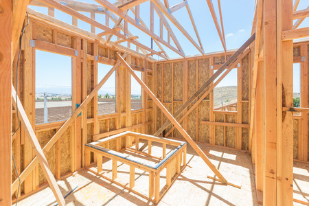 Wood Home Framing Abstract At Construction Site. Stock Photo