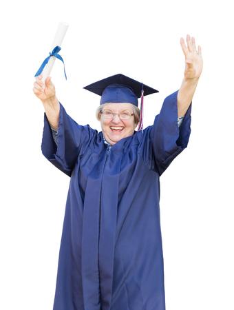 bdc207373  80244562 - Graduado Senior Feliz De La Mujer Adulta En Cap   Gown Holding  Diploma Aislado En Un Fondo Blanco.