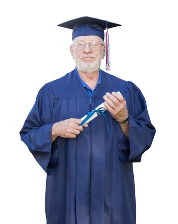 Diplomado De Un Mayor Hombre De Negocios Senior Orgulloso En Cap & Gown Holding Diploma Aislado Sobre Un Fondo Blanco. Foto de archivo - 80105514