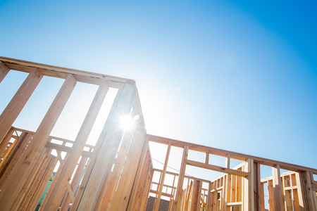 Wood Home Framing Abstract At Construction Site. 스톡 콘텐츠
