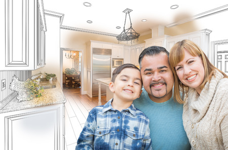 Young Mixed Race Family Over Kitchen Drawing with Photo Combination Stock Photo