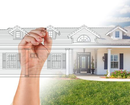 revealing: Hand Drawing Custom House Design With Gradation Revealing Photograph.