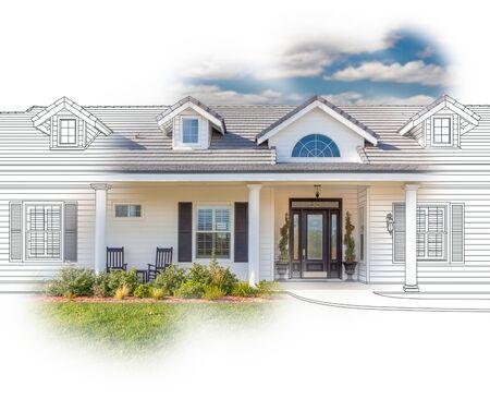 Haus-Blaupause-Zeichnung, die in abgeschlossene Fotografie abgestuft ist. Standard-Bild - 80961325