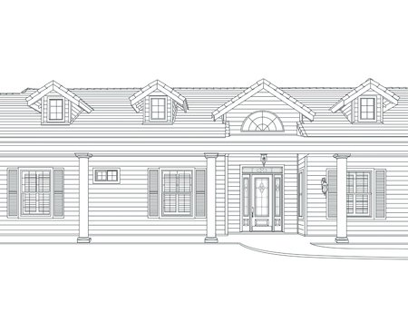 depiction: Custom Black Pencil House Drawing on White Background.