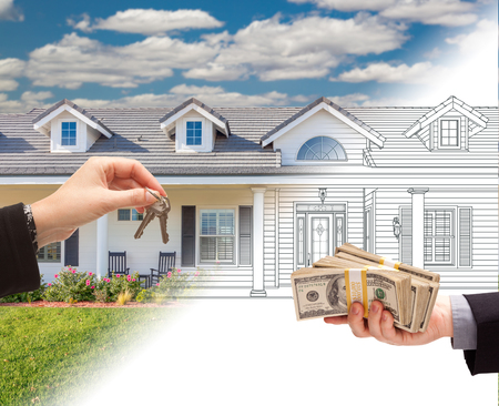 front house: Handing Keys to Man with Stacks of Money In Front Of House Drawing Gradating to Photograph.