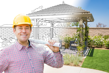 Contractor In Front of Drawing Gradating Into Photo of Finished Patio Cover Imagens