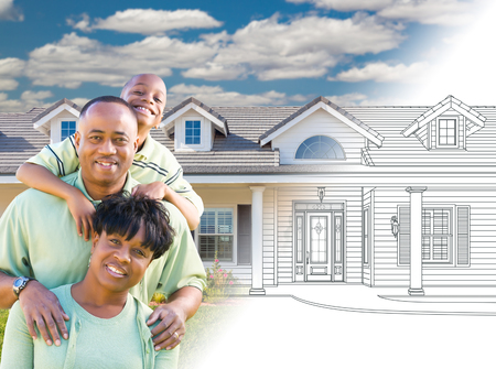African American Family In Front of Drawing of New House Gradating Into Photograph.