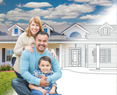 Mixed Race Hispanic and Caucasian Family In Front of Gradation of House Drawing and Photograph Stock Photo