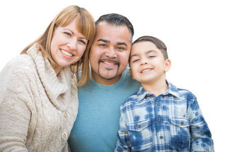 Happy Mixed Race Hispanic and Caucasian Family Isolated on a White Background. photo
