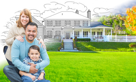 Mixed Race Hispanic and Caucasian Family In Front of Gradation of House Drawing and Photograph photo