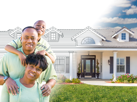 African American Family In Front of Drawing of New House Gradating Into Photograph. photo