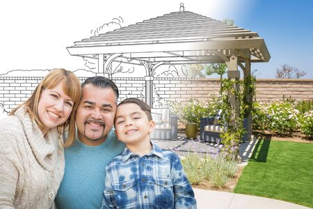 Mixed Race Family In Front of Drawing Gradating Into Photo of Finished Patio Cover. photo