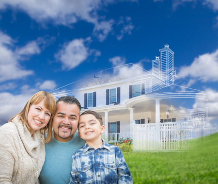 front house: Mixed Race Hispanic and Caucasian Family In Front of Ghosted House Drawing on Grass. Stock Photo