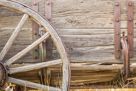 Abstract of Vintage Antique Wood Wagon Parts.