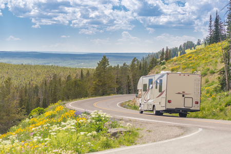 Camper Driving Down Road in The Beautiful Countryside Among Pine Trees and Flowers. Banque d'images