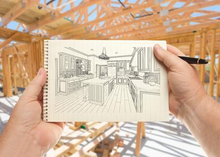 Mâle Main tenant le stylo et le paquet de papier avec l'illustration personnalisée de cuisine à l'intérieur de l'encadrement de la construction. Banque d'images - 83382726