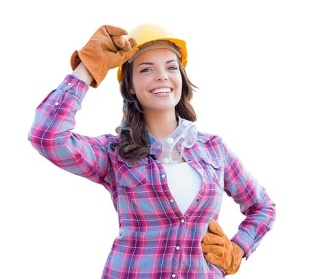 Young Attractive Female Construction Worker Wearing Gloves, Hard Hat and Protective Goggles Isolated on White. photo