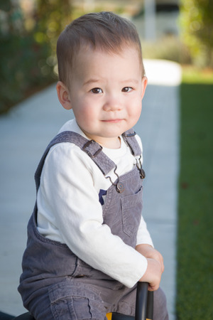 Young Mixed Race Chinese and Caucasian Baby Boy Having Fun Outdoors Stock fotó