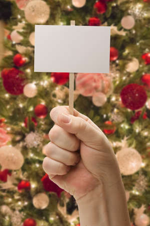 Hand Holding Blank Card In Front of Decorated Christmas Tree. Stock Photo