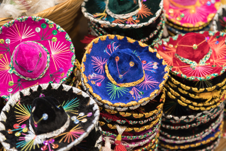 Variety of Sombreros On Sale By Local Mexico Vendors Stock Photo
