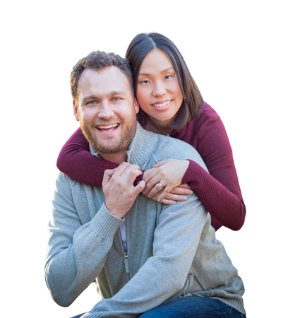 Mixed Race Caucasian and Chinese Couple Isolated on a White Background.
