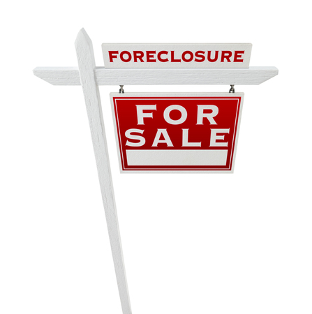 Right Facing Foreclosure Sold For Sale Real Estate Sign Isolated on White. Stock Photo