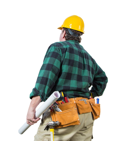 Male Contractor with Hard Hat and Tool Belt Looking Away Isolated a a White Background.