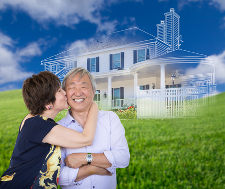 Chinese Senior Adult Couple Kissing In Front Of Ghosted Custom House Drawing and Photo Transition. Stock Photo