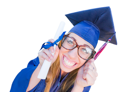 Goofy Graduating Young Girl In Cap and Gown Isolated on a White Background.