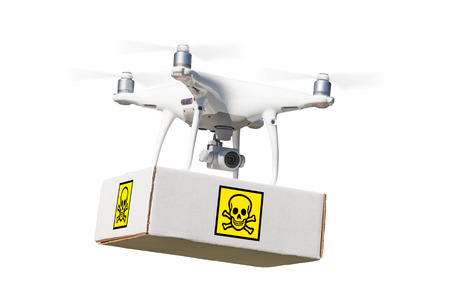 Unmanned Aircraft System (UAV) Quadcopter Drone Carrying Package With Poison Symbol Label On White. Stock Photo