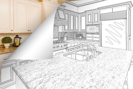 Kitchen Drawing Page Corner Flipping with Photo Behind. Stockfoto