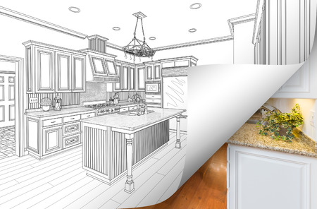 Kitchen Drawing Page Corner Flipping with Photo Behind. Banco de Imagens