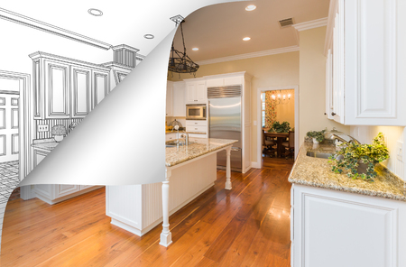 Kitchen Photo Page Corner Flipping with Drawing Behind. Banco de Imagens