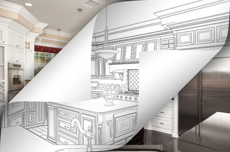 Kitchen Drawing Page Corners Flipping with Photo Behind. Banco de Imagens