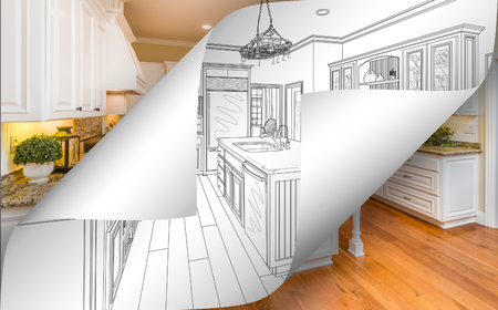 Kitchen Drawing Page Corners Flipping with Photo Behind. Imagens