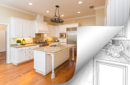 Kitchen Photo Page Corner Flipping with Drawing Behind. Imagens