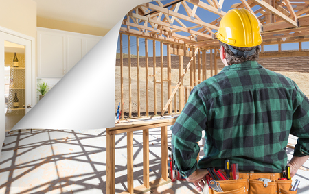 Contractor Facing Construction Framing with Page Corner Flipping to Completed Kitchen. Stock Photo