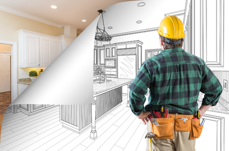 Contractor Facing Kitchen Drawing with Page Corner Flipping to Completed Photo Behind.