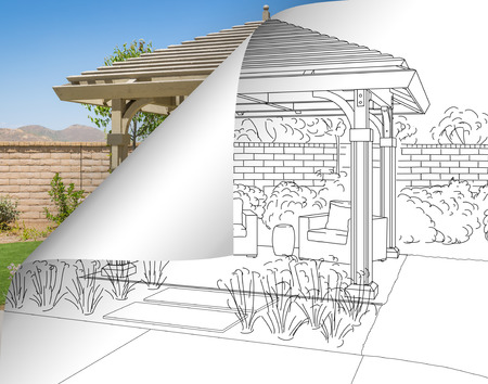 Pergola Drawing with Page Flipping to Completed Photo Behind. Stockfoto - 121426669