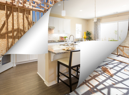 Custom Kitchen with Page Corner Flipping to Construction Framing.