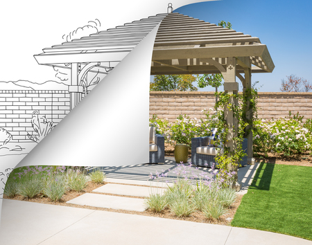 Completed Pergola Photo with Page Flipping to Drawing Behind.