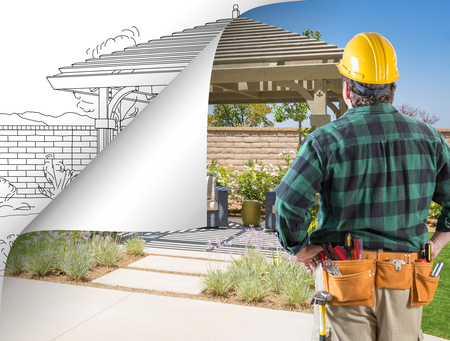 Contractor Facing Pergola Photo with Page Flipping to Drawing Behind