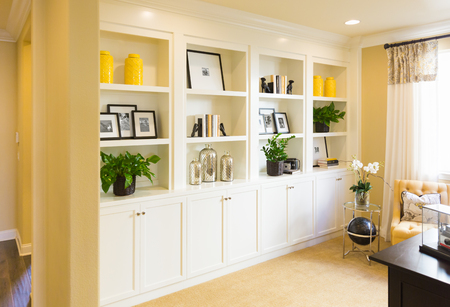 Beautiful Custom Shelves and Cabinet Built-in Interior.