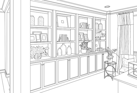 Detailed Drawing of Custom Living Room Built-in Shelves and Cabinets. 版權商用圖片