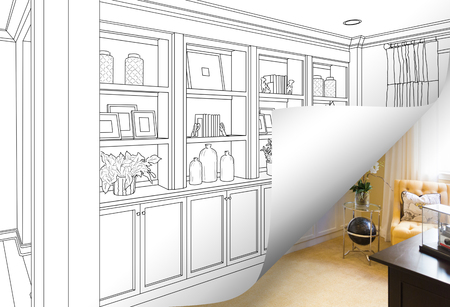Built-in Shelves and Cabinets Drawing with Page Corner Flipping to Completed Photo Behind. Banco de Imagens - 98484712