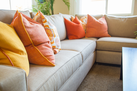 Abstract of Inviting Colorful Couch Sitting Area in House.